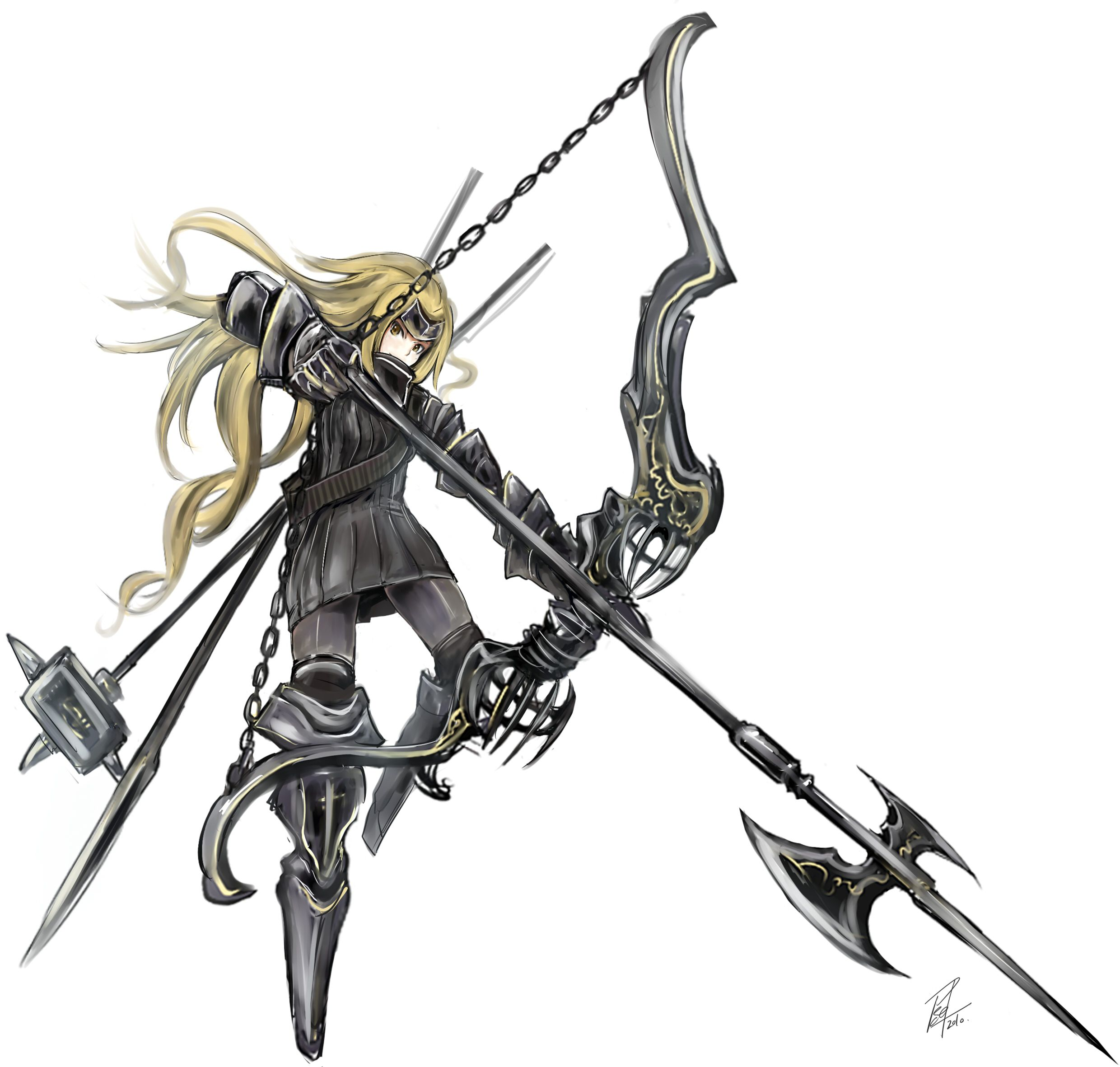 Image Armor Blonde Hair Bow Weapon Chain Halberd