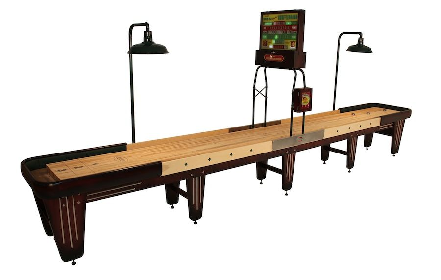 Beautiful Rock Ola Shuffleboard Table Shown In 20 Foot Model With Maple Horse Collar  Legs And Horse