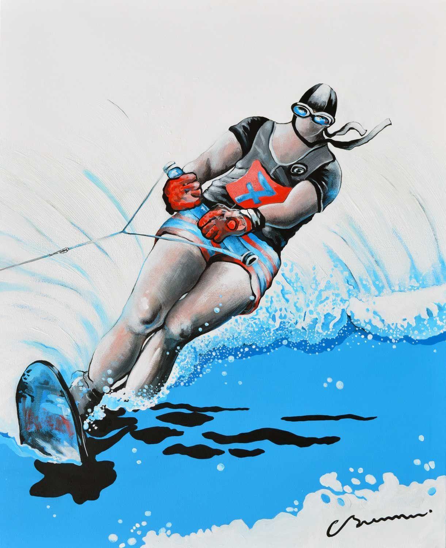 Ski nautique sur la mer d'Hokusai - Tableau - C. Brenner