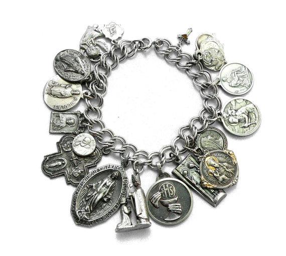 Religious Medals Charm Bracelet Saints Jewelry Crafts Goth Bracelets