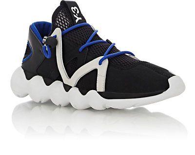 new concept b06ec c718f 385 Y-3 Adidas Yohji Yamamoto Mens Kyujo Low Sneakers BlackOff-WhiteBlue  12.5