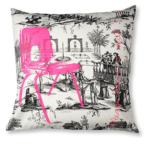 Harlequin Etienne Cerise Toile Pink /& Ivory Cushion Cover