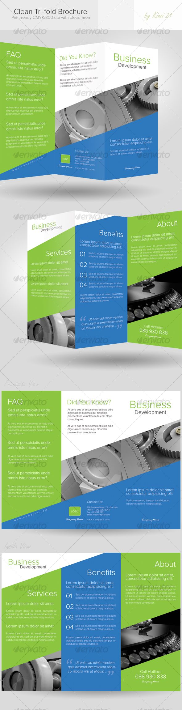 Clean Trifold Brochure – Information Pamphlet Template