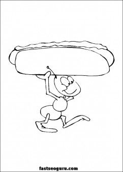 Free Print Out Ants With Hot Dog Coloring Page For Kid Printable Ants Coloring Page Preschool Dog Coloring Page Coloring Pages Rug Hooking Patterns Free