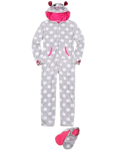 aab74c2fd Cat Fleece Pajama With Removable Footies