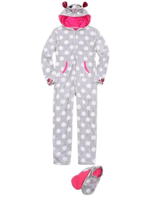 da179b7c7 Cat Fleece Pajama With Removable Footies