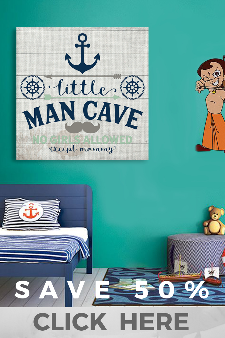 Little Man Cave Canvas Frame Wall Art Gift Little Man