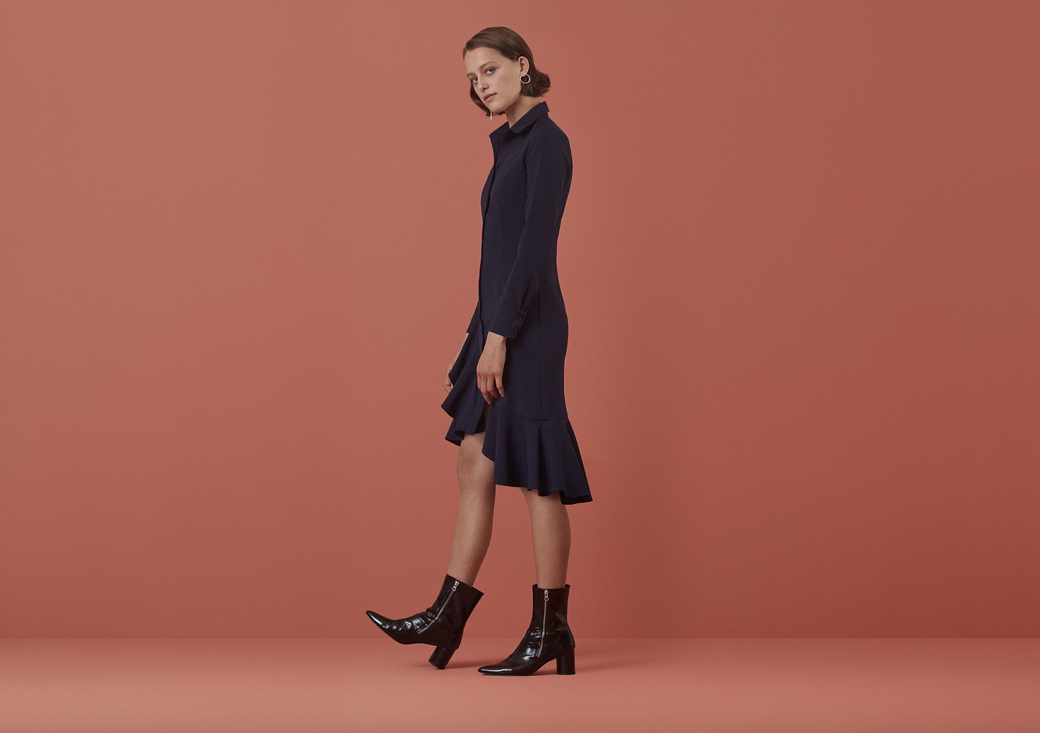 Beachcroft Frill Hem Shirt Dress On Finery London Dresses Designed In Available Blue