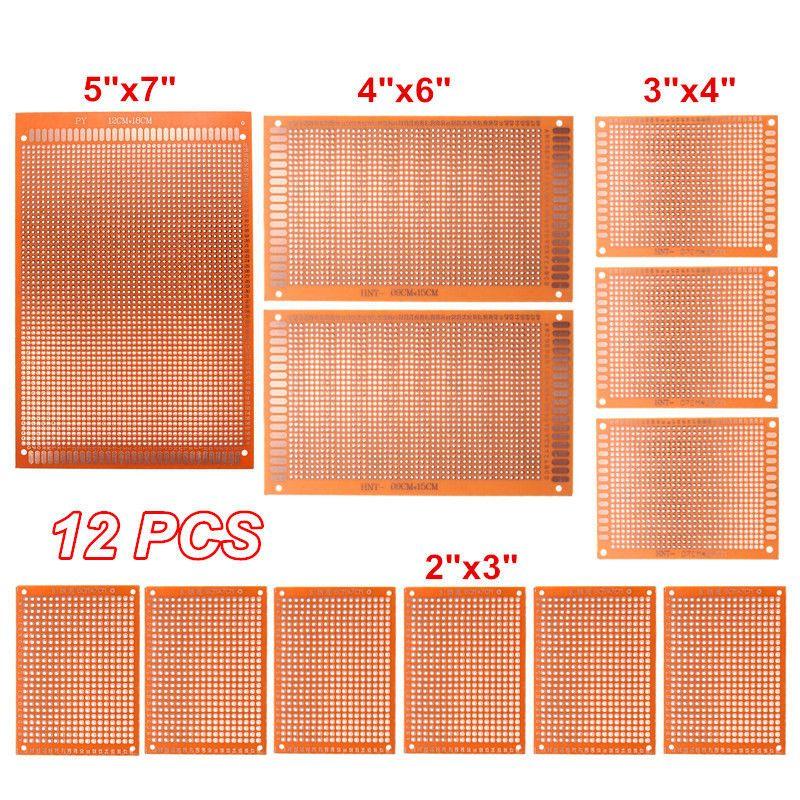12 pz/set diy scheda di prototipazione pcb printed circuit prototype tagliere stripboard 4 formati