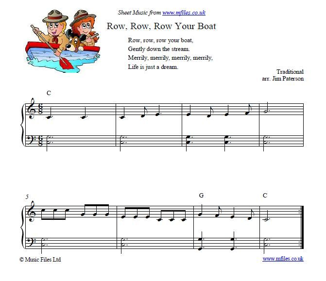 Row Row Row Your Boat Childrens Song Music Pinterest