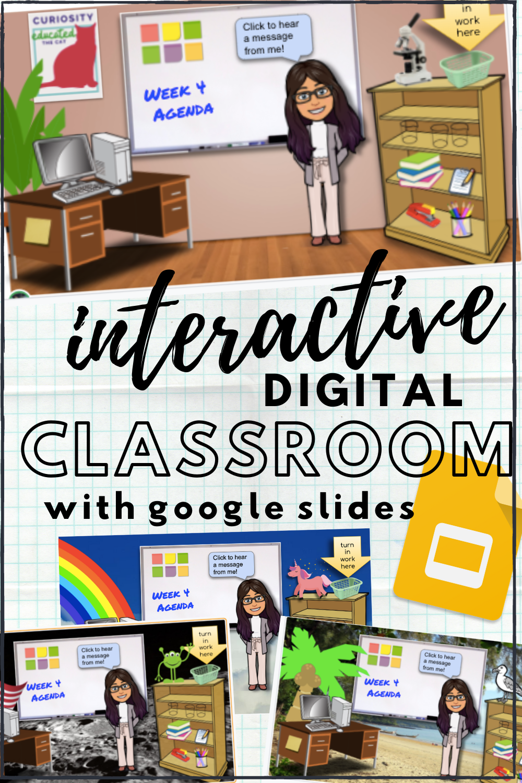 Make A Bitmoji Virtual Classroom With Google Slides Teach Every Day Interactive Classroom Digital Classroom Google Classroom Elementary