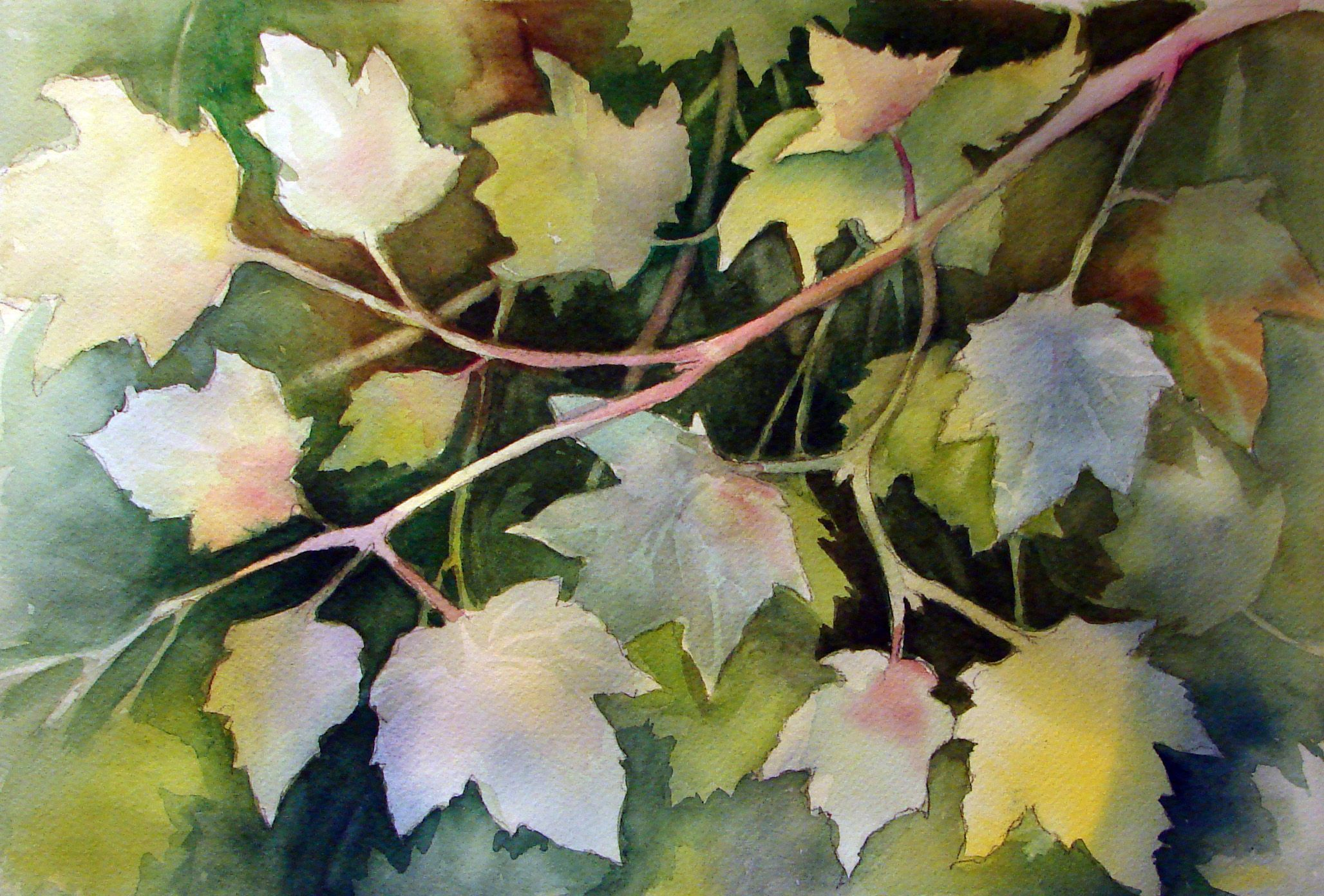 Negative Painting Around Leaves.