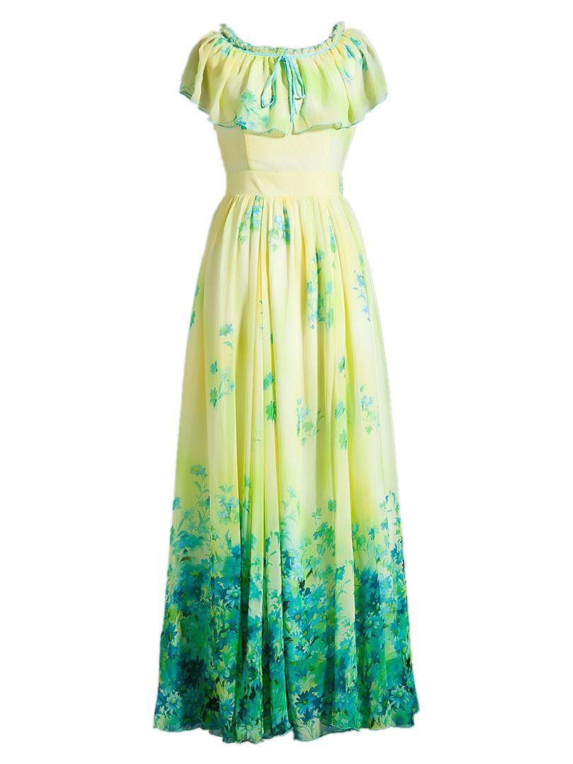 e674d98d00701 Yellow Ruffle Floral Print Maxi Dress in 2019 | Clothing | Elegant ...