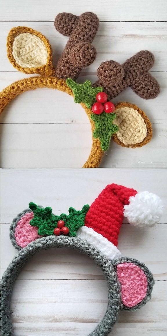Crochet Holiday Mouse and Festive Reindeer Headbands #crochetelements