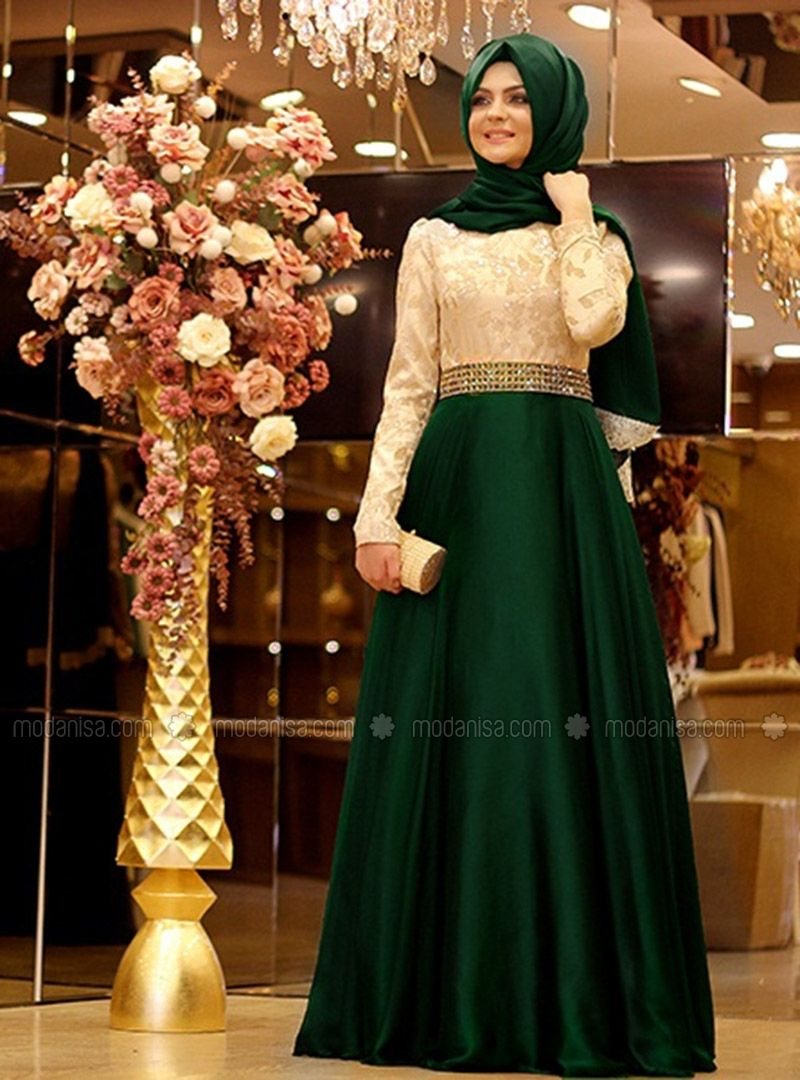 Magical Evening Fluffy Green Muslim Evening Dresses Modanisa The Dress Aksamustu Giysileri Musluman Elbisesi