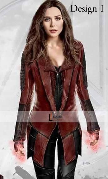 Leathersjackets Com Proudly Making A Costume Of Stunning Elizabeth Olsen From The Movie Capta Elizabeth Olsen Scarlet Witch Scarlet Witch Scarlet Witch Costume