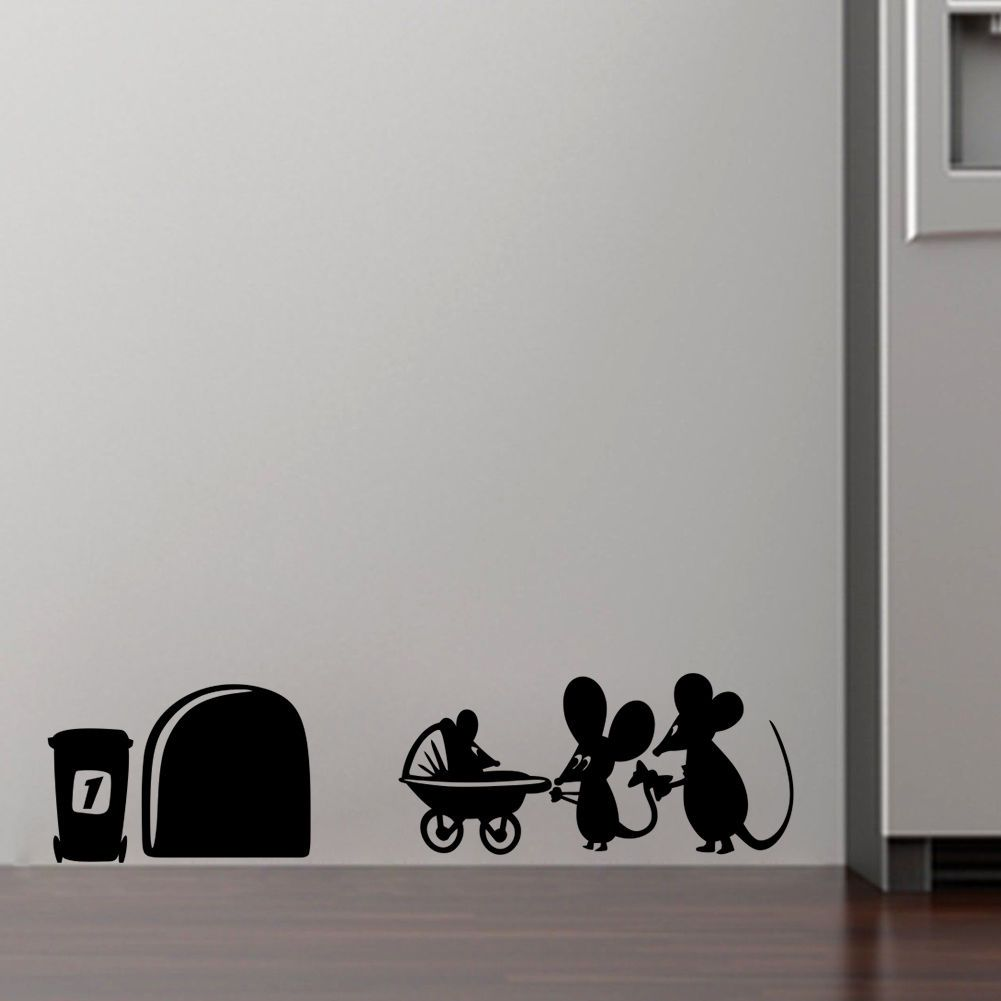 525aud Family Baby Mouse Hole Wall Stickers For Kids Rooms Decals