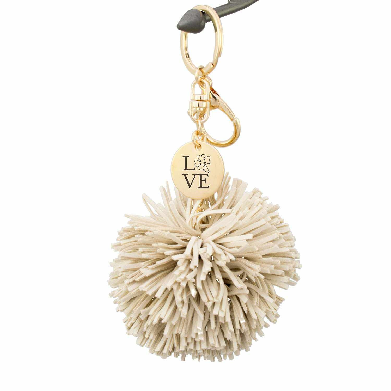 Handmade suede pom tassel keychain. This stylish keychain is made of luxe suede and comes in 5 chic colors. Clip to your tote, purse or backpack or add your keys for a keychain that's super easy to find in your bag! Features a charm with LOVE laser-engraved. Great gift for a sister, friend, or even for yourself! Each piece is handmade and unique! Makes a great gift for Easter, Christmas, Valentine's Day, birthday, etc.PRODUCT FEATURES Keychain length: 5 inches 1 inch round antiqued brass disc 1