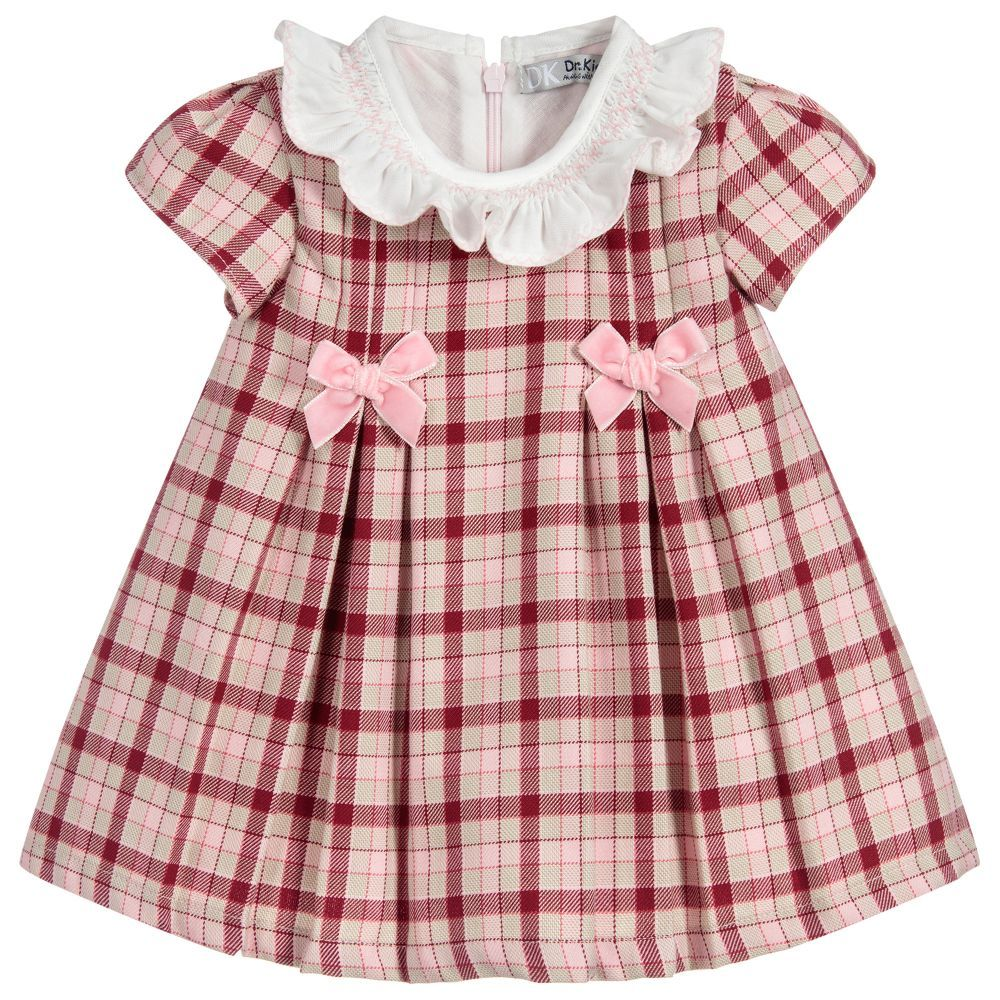 3c0d8bd5aaf3 Girls Pink Check Cotton Dress for Girl by Dr. Kid. Discover more beautiful  designer Dresses for kids online