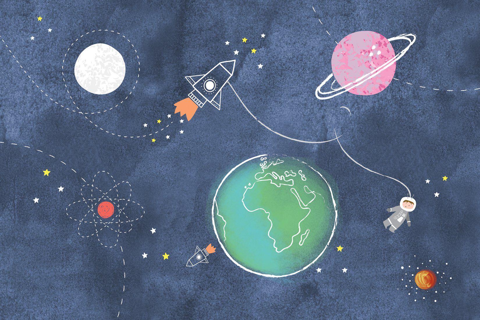 Kids Space Rockets Wall Mural Carta da parati per