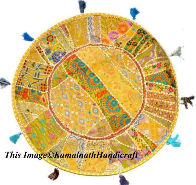 Indian Home decor Bohemian Seating Pouf Round Meditation Vintage Hand Embroidered Cotton Throw Pillo