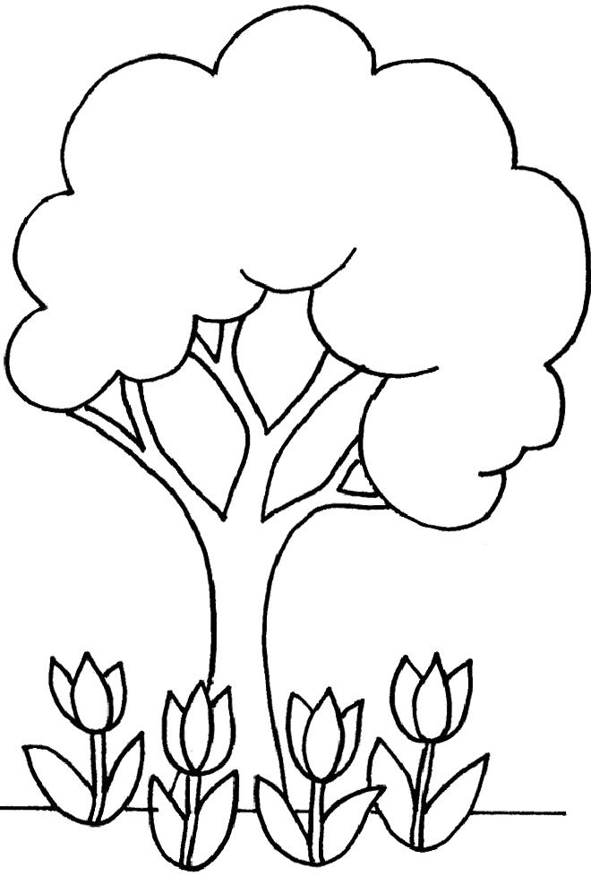 Little Tree And Flowers Coloring For Kids Tree Coloring Pages Kidsdrawing Free Coloring Tree Coloring Page Spring Coloring Pages Earth Day Coloring Pages