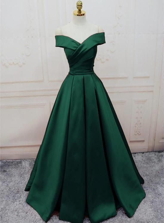 Shoulder Floor-Length A Line Prom Dress