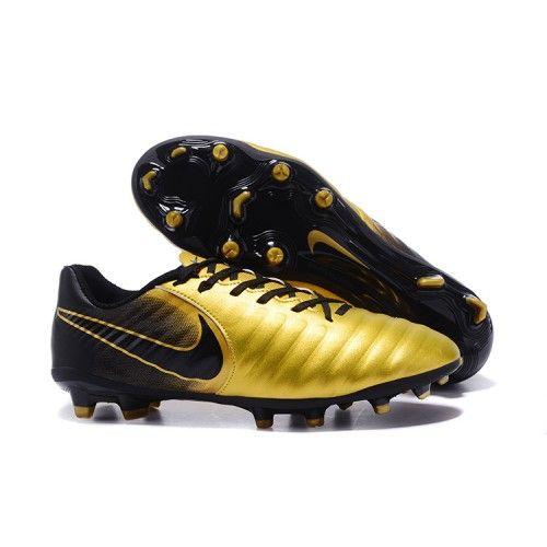 2017 Nike Tiempo Legend VII FG Botas De Futbol Negro de oro