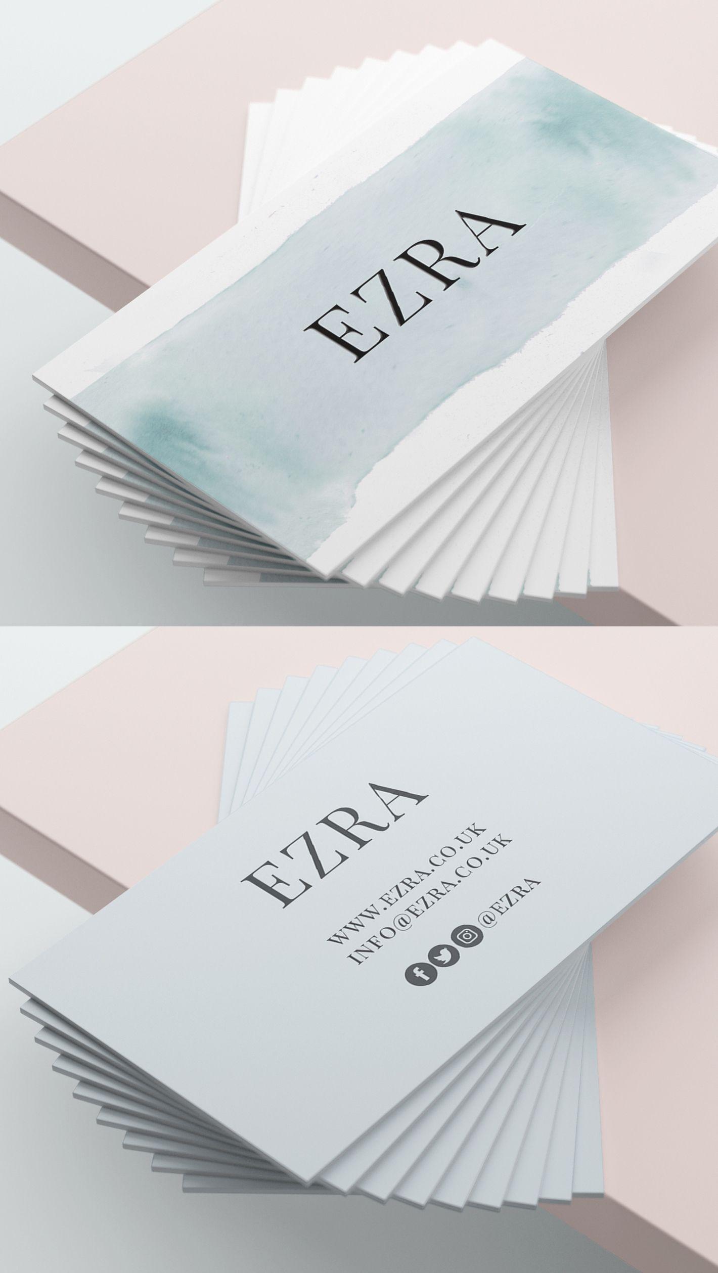 Blue Business Card Design Template Blue Watercolour Business Card