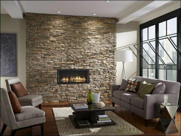 Kaminofen mit natursteinwand im wohnzimmer - Kaminofen wohnzimmer ...