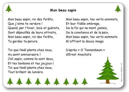 Chanson Mon Beau Sapin Paroles Illustrees Mon Beau Sapin A