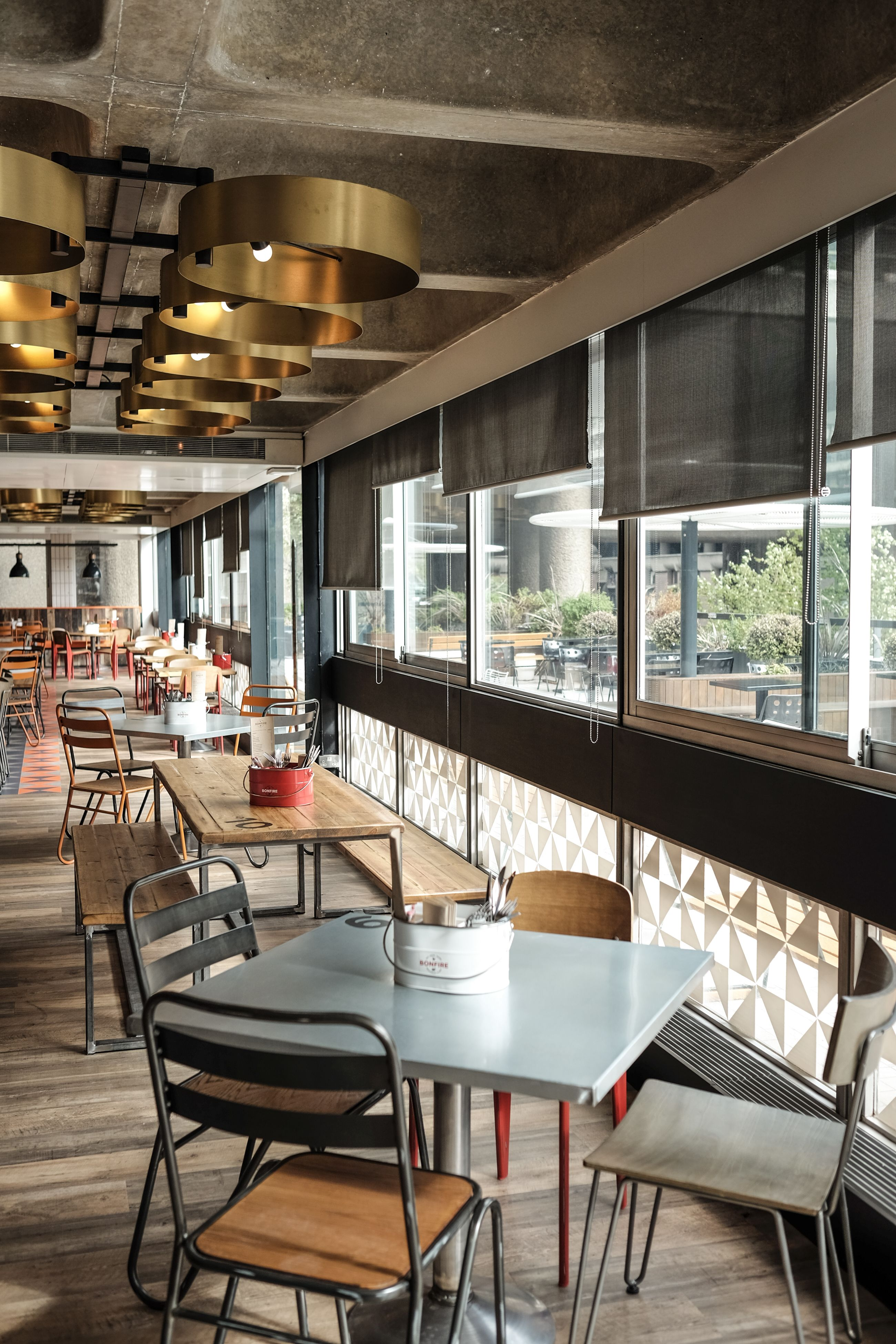 Bonfire Restaurant The Barbican Centre Designed By Catering Design Group Industrial Interiors Industrial Interior Cafe Restaurant Interior
