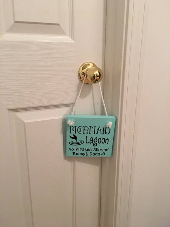 """Photo of Adorable Rustic Turquoise """"Mermaid Lagoon"""" Wooden Door Sign Hanger for Little Girls Room / Nursery FREE SHIPPING"""
