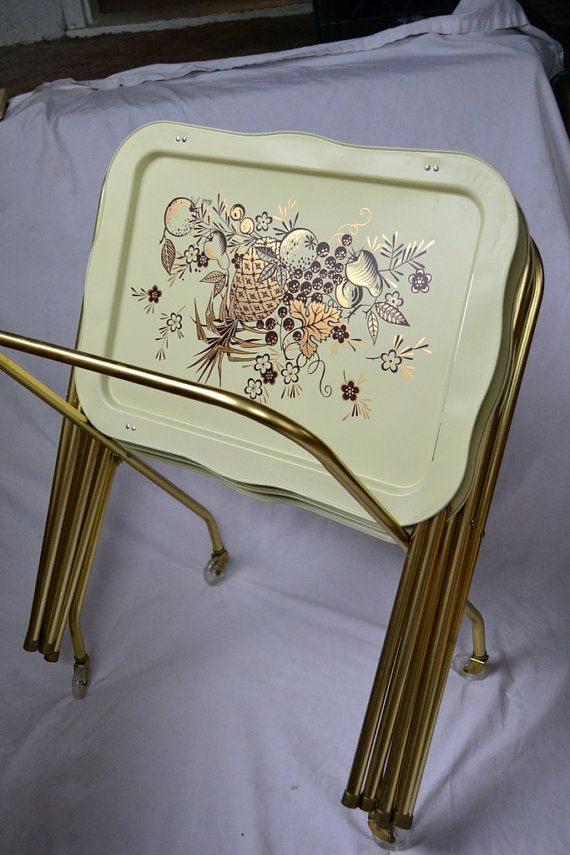 Exceptional Vintage Lavada Metal TV Trays, Set Of 4 With Wheeled Stand, Gold Fruit  Basket Design