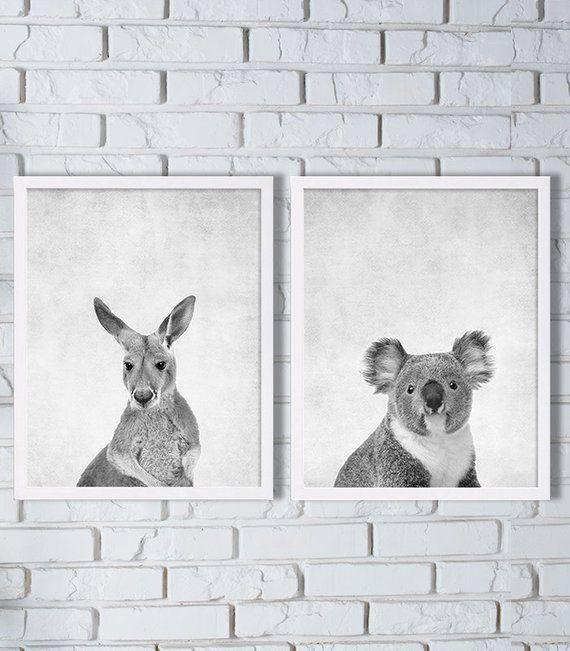 Australia Animal Prints Two Print Set Kangaroo Koala Bear Art Grey Down Un