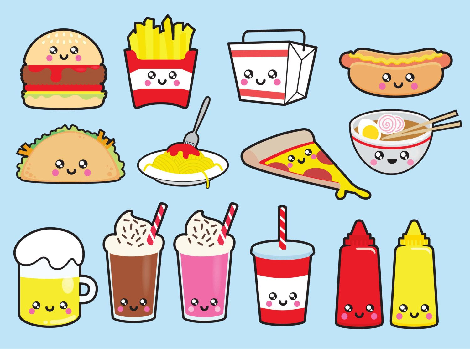Premium Vector Clipart Kawaii Junk Food Clipart Kawaii Food