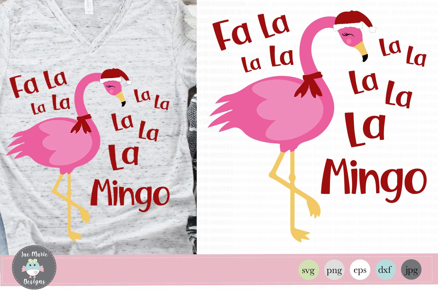 Fa La Flamingo, Christmas Flamingo (Graphic) by thejaemarie