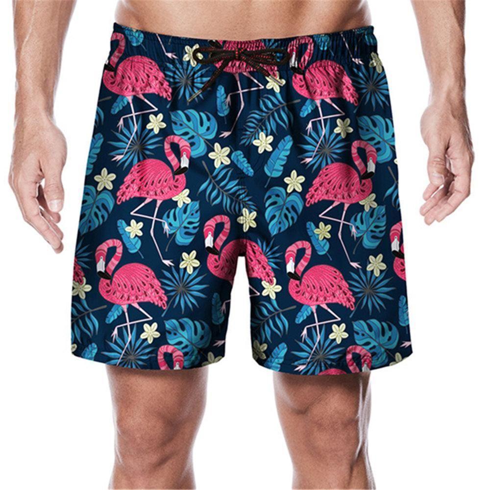 Mens Colored Triangles Pattern Shorts Elastic Waist Pockets Lightweight Beach Shorts Boardshort