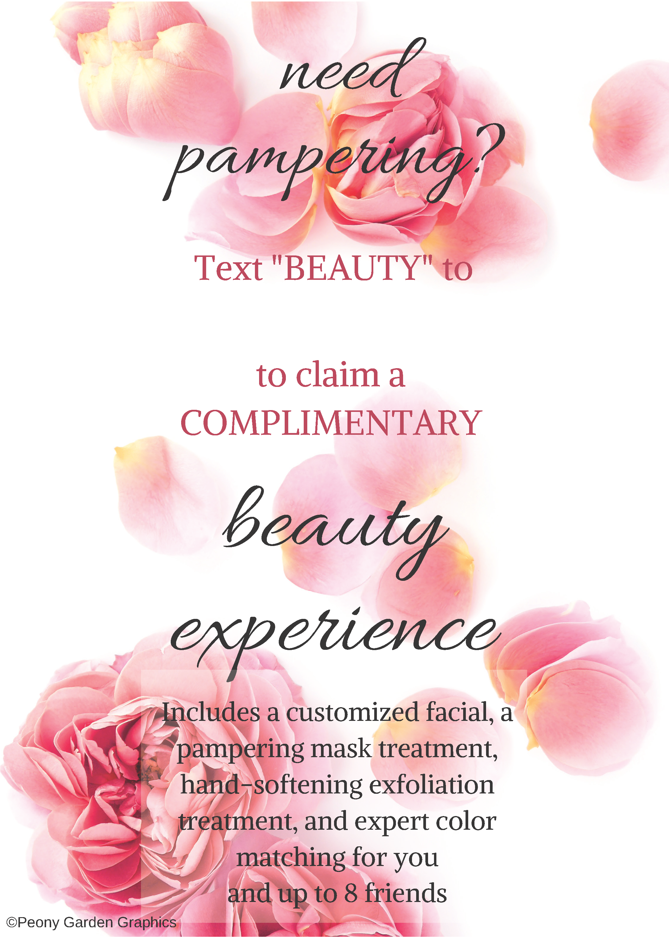 Text Frame Beauty Experience Pdf Download Peony Garden Graphics