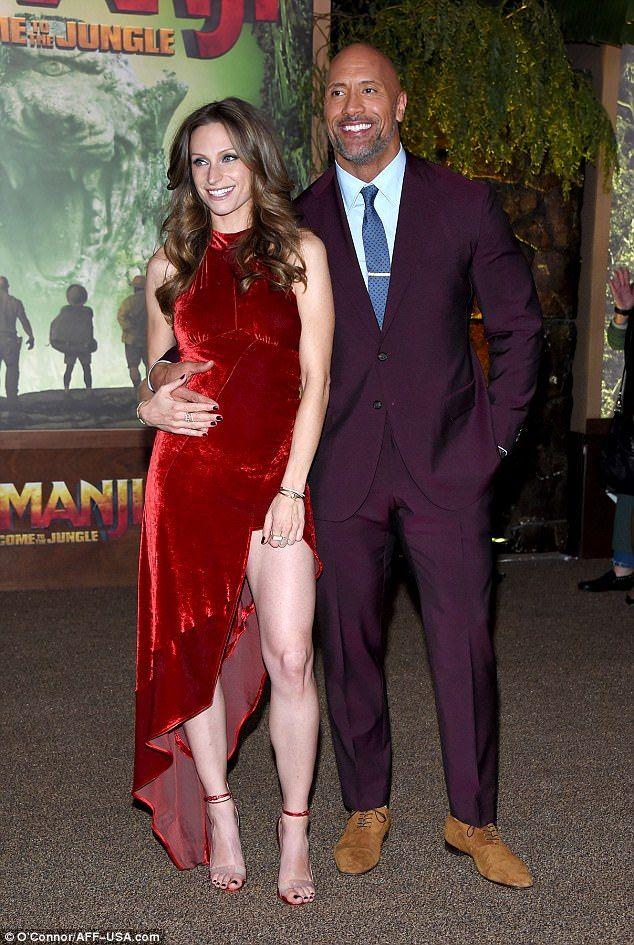 The Rock And Pregnant Lauren Hashian At Jumanji 2 Premiere