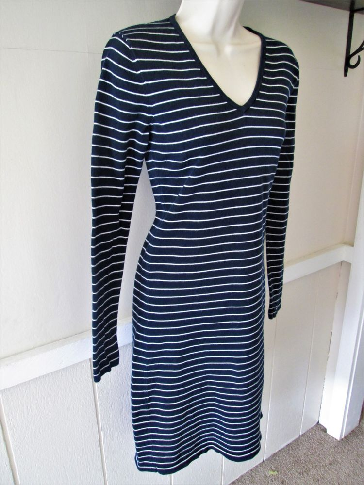927843105820 Women Lauren Ralph Lauren Black Label Navy Blue White Striped Sweater Dress  Sz M  fashion  clothing  shoes  accessories  womensclothing  dresses  ad  (ebay ...