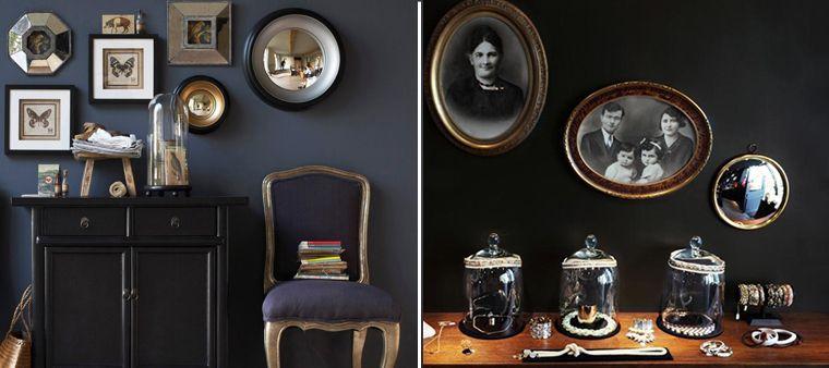 pour un esprit cabinet de curiosit vous pouvez accrocher des objets au mur comme ces miroirs. Black Bedroom Furniture Sets. Home Design Ideas