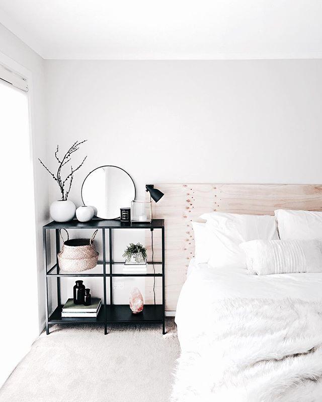- schwarz-weiß-Spiel - verschiedene Schichten im Bett in einer Farbe #minimalbedroom