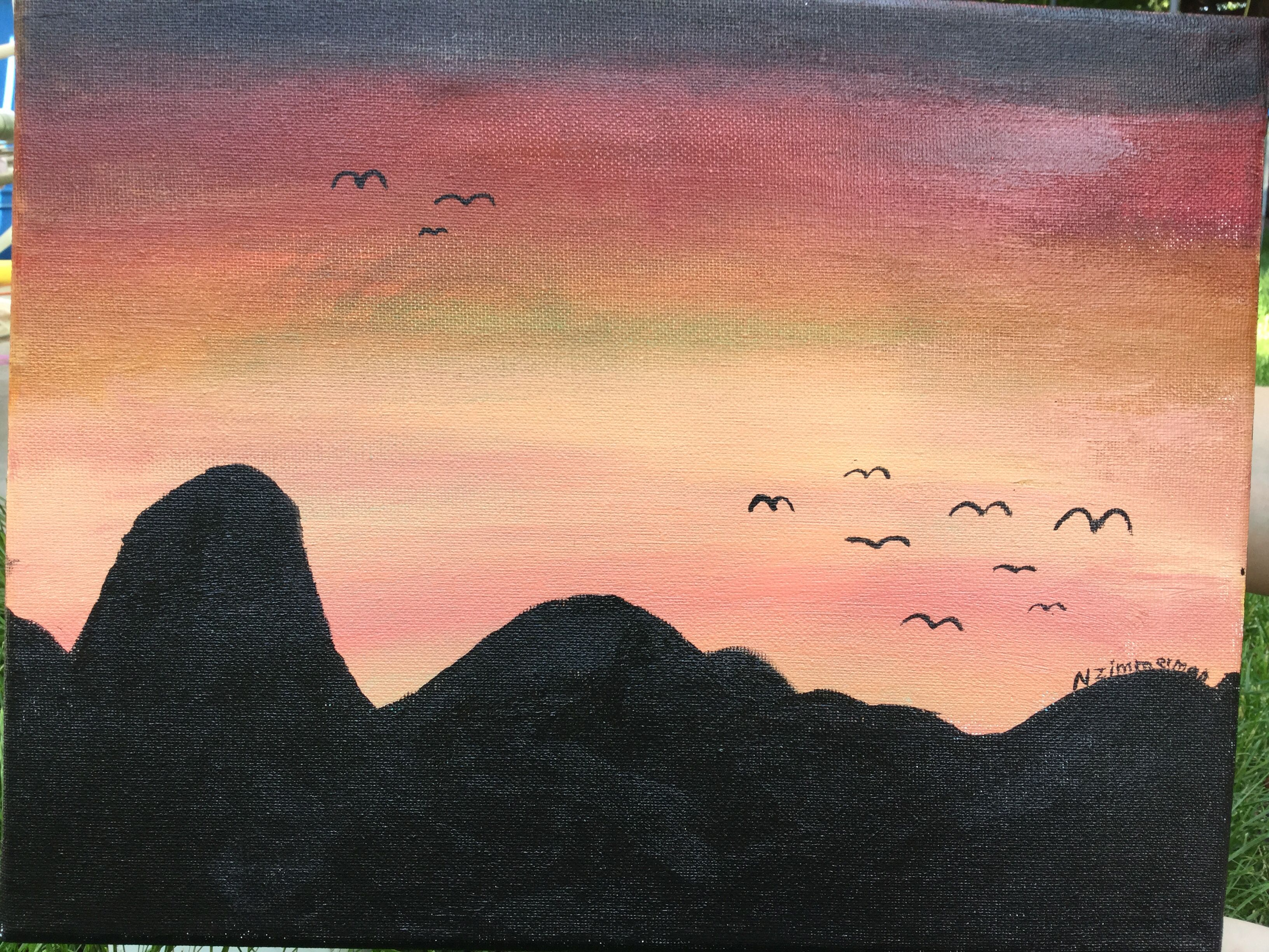 Beginners Sunset Mountain Silhouette Painting Acrylic Painting