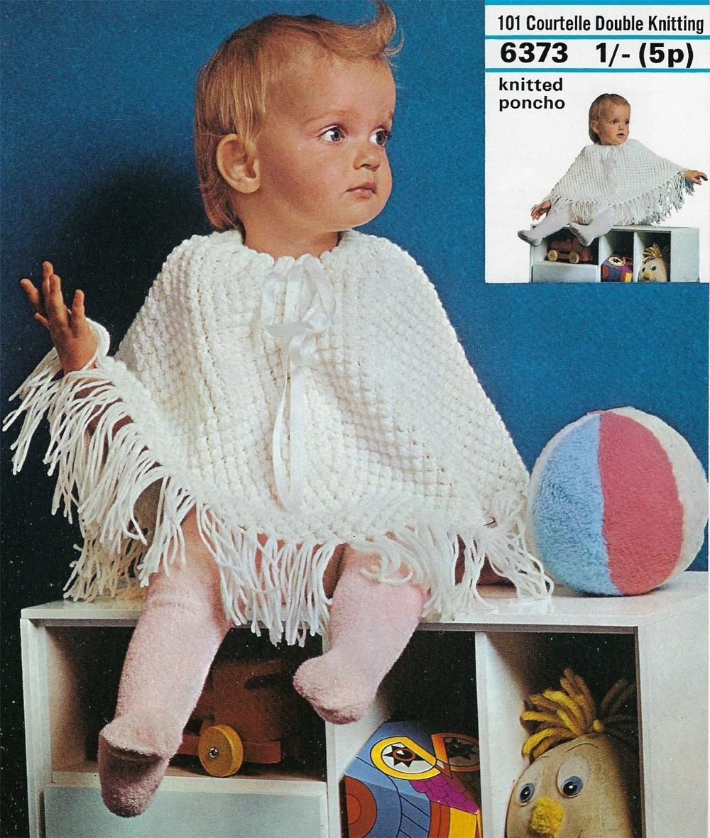 Instant PDF Digital Download baby poncho knitting pattern double ...