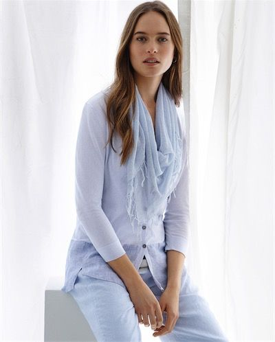 Poetry ~ Knitted Shirt with Cross-Dyed Linen Hem