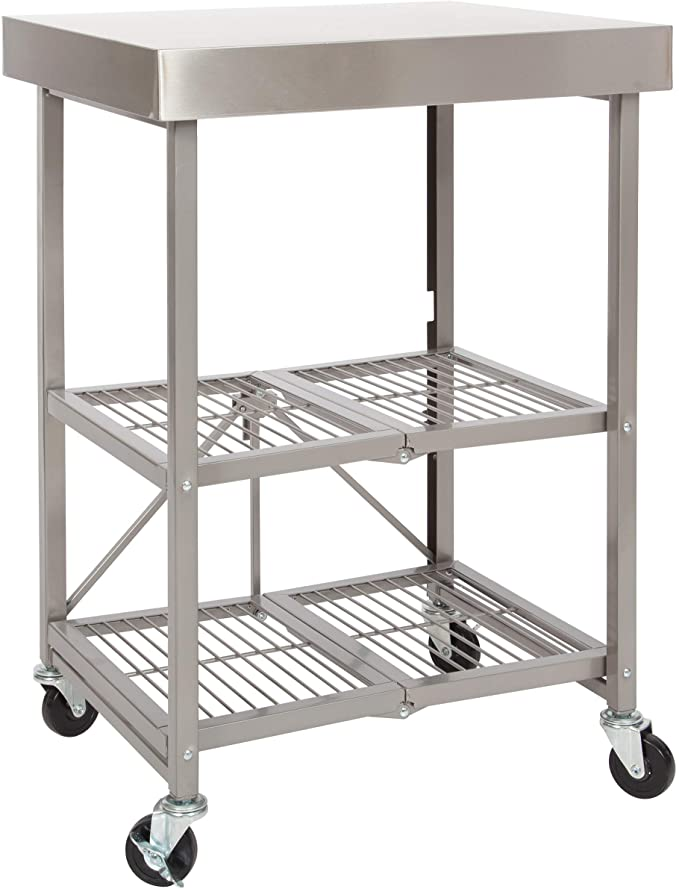Amazon Com Origami Folding Kitchen Cart On Wheels For Chefs Outdoor Coffee Wine And Food Microwave Ca Microwave Cart Kitchen Cart Kitchen Island On Wheels Metal kitchen cart on wheels