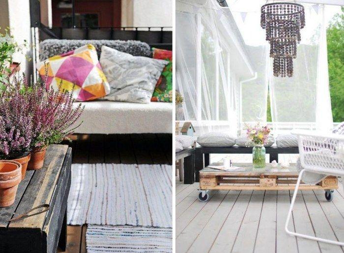 gemütliche Terrassengestaltung mit bunten Mustern und Dessins ...