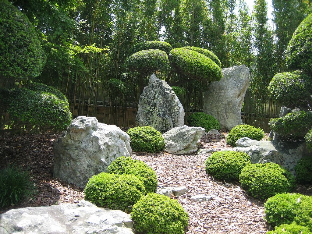 chic image of home exterior decoration using oriental garden backyard design including grey pebble garden flooring - Garden Design Using Rocks