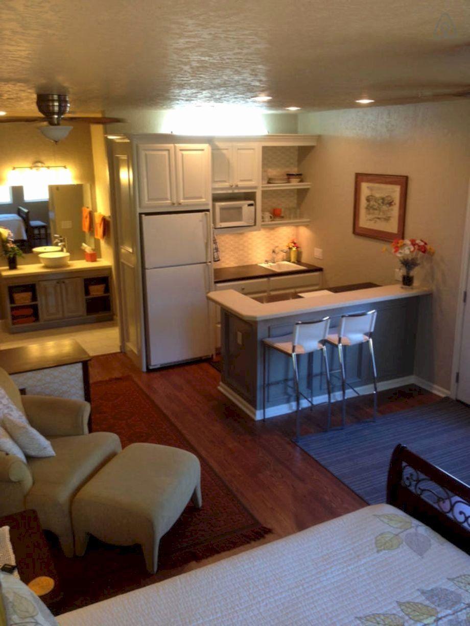 One Bedroom Apartment Decor Beautiful 57 Small Basement Apartment Decorating Ideas Di 2020 Desain Dapur Dekorasi Apartemen Desain Apartemen